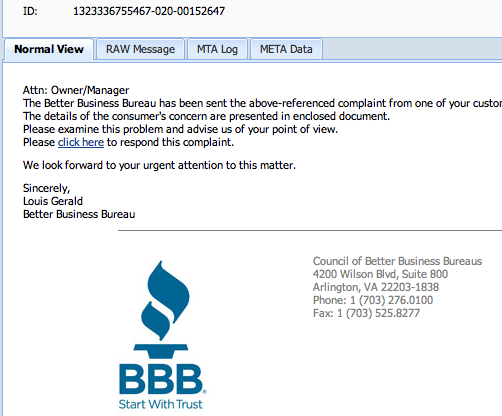 Phishing Scheme using BBB Logo